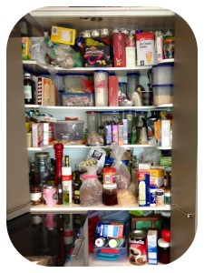 Here is a before photo of a pantry I did recently - the smallest pantry ever for a family of four!